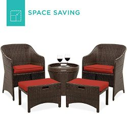 Best Choice Products 5-Piece Outdoor Wicker Patio Bistro Space Saving Furniture Set w/Storage Ta ...