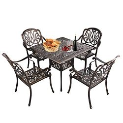 USSerenaY 5-Piece Cast Aluminum Patio Dining Set Outdoor Dining Set with Table and 4 High-Back A ...