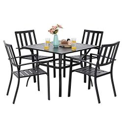 PHI VILLA 5-Piece Metal Patio Outdoor Table and Chairs Dining Set- 37″ Square Bistro Table ...