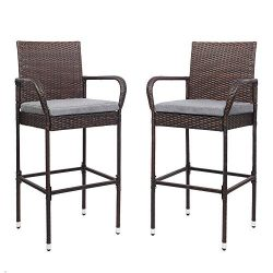 VINGLI Wicker Bar Stools Outdoor with Cushions Set of 2, Outdoor Bar Stools Counter Height Indoo ...