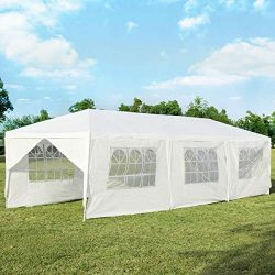 Tangkula 10′ x 30′ Outdoor Waterproof Gazebo Canopy w/ 6 Removable Sidewalls and 2 D ...