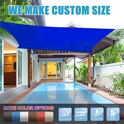 Amgo 16′ x 16′ Blue Square Sun Shade Sail Canopy Awning, 95% UV Blockage, Water & ...