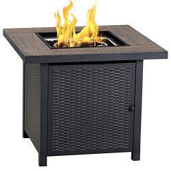 BALI OUTDOORS Propane Fire Pit Table, 30 Inch Gas Fire Pits Outdoors, Square Fire Table w/Fire G ...