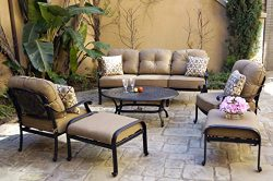 Darlee Cast Aluminum Elisabeth 6-Piece Sofa Set with Cushions and Pillows, Coffee Table, Antique ...