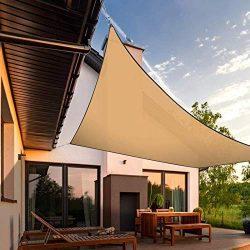 INFLATION 16′ x 20′ Sand Rectangle Sun Shade Sail Canopy Awning, 95% UV Block Water  ...