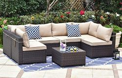Gotland Outdoor Patio Furniture Set 7 Pieces Sectional Rattan Sofa Set Manual Wicker Patio Conve ...