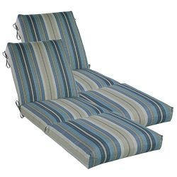 Comfort Classics Inc. Set of 2 Outdoor Channeled Chaise Cushion 23W x 72L x 4.5H Hinge at 26R ...