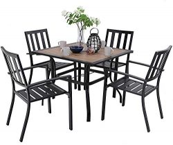 MFSTUDIO 5 Piece Patio Dining Set Metal Patio Armrest Dining Chairs and Larger Square Table Set, ...