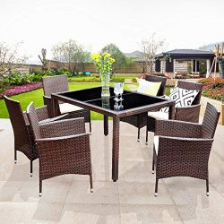 Wisteria Lane Outdoor Patio Dining Set,7 Piece Brown Wicker Furniture Seating Conversation Ratta ...