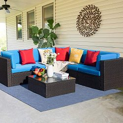 Furniwell 6 Pieces Patio Furniture Sectional Set Outdoor Wicker Rattan Sofa Set Backyard Couch C ...