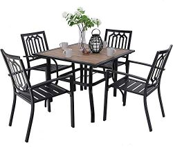 MFSTUDIO Metal Patio Dining Sets Club Bistro Bar Sets 4 Piece Metal Dining Chairs with 2.7″ ...