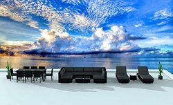 Urban Furnishing.net – Black Series 19 Piece Outdoor Dining and Sofa Sectional Patio Furni ...