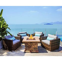COSIEST 5-Piece Faux Brown Propane Fire Pit Outdoor Furniture Brown Chairs, Warm Gray Wicker Thi ...