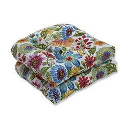 Pillow Perfect Seat (2) Outdoor Cushion, 19″ x 19″ x 5″, Gregoire Prima, 2 Piece
