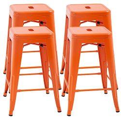 FDW Counter Height Bar Stools Set of 4 Metal Bar Stools Industrial Metal Stool Patio Furniture 2 ...