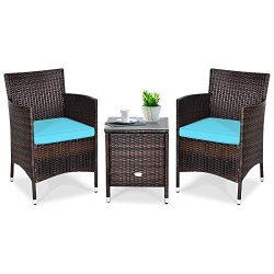 Tangkula Patio Furniture Set 3 Piece, Outdoor Wicker Rattan Conversation Set with Coffee Table,  ...