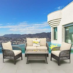 Solaste 4PCS Patio Furniture Set – All-Weather Wicker Conversation Set Outdoor Sofa Seatin ...