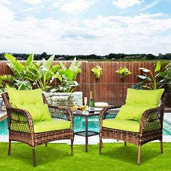 FUNKOCO 3 Pieces Patio PE Rattan Conversation Chair Set, Outdoor Furniture Set with Water-Proof  ...