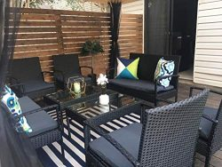 StellaHome Rattan Patio Outdoor Furniture Sets 8 Pieces Wicker Chairs Loveseats with Extra Cushi ...