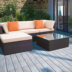 Devoko Patio Furniture Sets 5 Pieces Outdoor Sectional Sofa Wicker Rattan Patio Sofa Sets with C ...