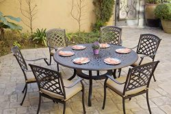 "AC HOME & PATIO Cast Aluminum 7-Piece Patio Set 60"" Round Dining Table, Antique Bronze"