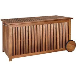 cucunu Deck Box Patio Cushion Storage Waterproof 65 Gallon Outdoor Furniture Wood Wheels 46 x 24 ...