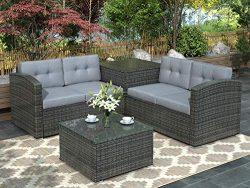 Leisure Zone 4 PCS Outdoor Cushioned PE Rattan Wicker Sectional Sofa Set Garden Patio Furniture  ...