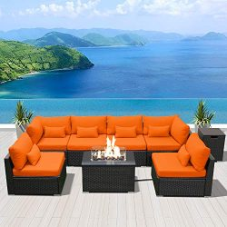 DINELI Patio Furniture Sectional Sofa with Gas Fire Pit Table Outdoor Patio Furniture Sets Propa ...