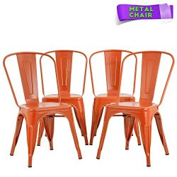 FDW Metal Dining Chairs Set of 4 Indoor Outdoor Chairs Patio Chairs 18 Inch Seat Height Metal Ch ...