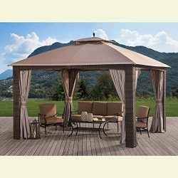 Sunjoy 110109028 Original Replacement Canopy for Augusta Wicker Gazebo (10X12 Ft) L-GZ1190PST So ...