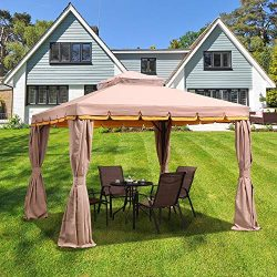 PURPLE LEAF 10′ × 12′ Outdoor Gazebo Garden Canopy Steel Frame Vented Soft Canopy, D ...