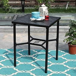 PHI VILLA 28″ Metal Patio Height Bistro Table Set Outdoor Dining Square Table with Umbrell ...
