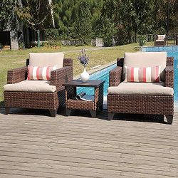 SUNSITT Deluxe Woven 3-Piece Patio Conversation Set Lounge Chairs and Side Table w/Aluminum Top, ...