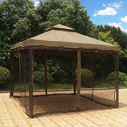MASTERCANOPY Patio Rome Gazebo 10X10 Canopy Soft Top with Mosquito Netting,GH12N12(Coffee Cream)