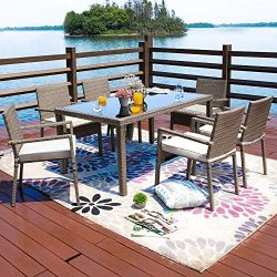 Festival Depot 7-Piece Wicker Rattan Patio Dining Set with Cushions 6 Seat Chairs Furniture and  ...