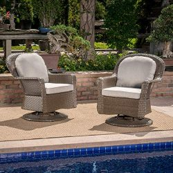 Linsten Outdoor Brown Wicker Swivel Club Chairs with Ceramic Grey Water Resistant Cushions (Set  ...