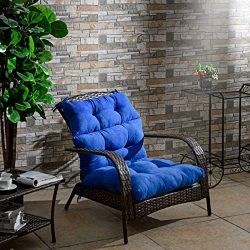 Giantex Tufted Outdoor Patio Chair Cushion 5″, High Back Chair Cushion with 4 String Ties, ...
