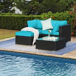 4 Pieces Outdoor Furniture Patio Rattan Loveseat Set All Weather Sectional PE Wicker Sofa Conver ...