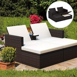 Tangkula 3 Pieces Wicker Chaise, with Storage Ottoman, Outdoor Poolside Garden Adjustable Sun Lo ...