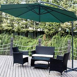 Romatpretty 4 Piece Outdoor Furniture Set, Wicker Patio Garden Pool Lawn Rattan Loveseat Sofa Cu ...