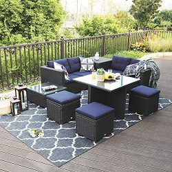 Sophia & William 9 Piece Patio Furniture Set Rattan Wicker Outdoor Sectional Couch Sofa Set, ...