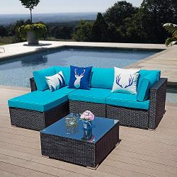 5 Piece Patio Furniture Set, Paito All Weather Black PE Wicker Sectional Sofa, Outdoor Conversat ...