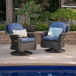 Linsten Outdoor Dark Brown Wicker Swivel Club Chairs with Navy Blue Water Resistant Cushions (Se ...