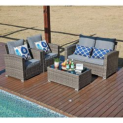 JOIVI Patio Furniture Set, 5 Piece PE Rattan Sectional Outdoor Conversation Sofa Set with Gray W ...