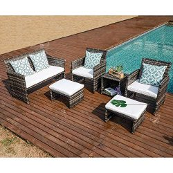 OC Orange-Casual 6 Piece Wicker Patio Furniture Set, Cushioned Patio Chair and Loveseat w/Ottoma ...