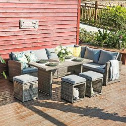 JOIVI Patio Furniture Set, 7 Pieces PE Rattan Wicker Dining Sofa Set, Outdoor Patio Furniture wi ...