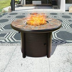 Top Space 42 Inch Propane Fire Pit Table Outdoor Gas Fire Pit Round Patio Fire Table CSA Certifi ...