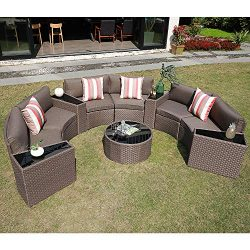 SUNSITT Outdoor Sectional Set 11-Piece Half Moon Patio Furniture Brown Wicker Sofa Taupe Cushion ...